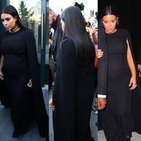 ingrosso abiti da sera di maternità satinata-Kim Kardashian Black Celebrity Maternity Prom Dresses per le donne incinte 2017 Jewel Satin Evening Gowns Long Robe De Soiree