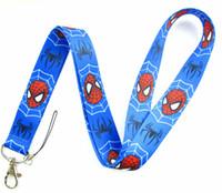 Wholesale Spiderman Badges - Wholesale-Lot 1Pcs SpiderMan Logo Strap Lanyards For ID Badge Mobile Phone Key Chain LA2