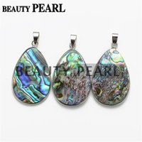 Silver Plated Simple Oval Teardrop Cut Paua Abalone Shell Pendentif avec Perle Collier Chaîne Naturel Abalone Shell Stone Unique Jewelry