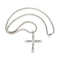 Wholesale Dominic Toretto Chain - Fine Jewelry Necklace The Fast And The Furious Dominic Toretto Vin Cross Rhinestone Necklace Pendants Punk Necklaces 12PCS LOT