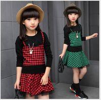 Wholesale Korean Zebra Suit - 2016 New Autumn Big Girl Clothing Sets Children Long Sleeve Plaid T-shirt+Skirts 2pcs Set Korean Style Kids Fashion Outfits Girls Suits