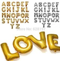 Wholesale Decoration Birthday - 1pcs 16'' ALL WITH HOLE Silver  mat shinning Gold color Alphabet Letters Number 1-9 Foil Balloons Birthday Party Wedding Decoration
