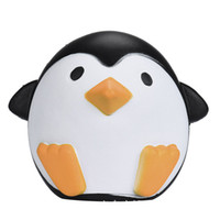 Wholesale Charm Strap Black - PU Male and female Antarctic penguins Jumbo Squishy Slow Rising Pendant Phone Straps Charms Queeze Kid Toys Cute squishies Bread
