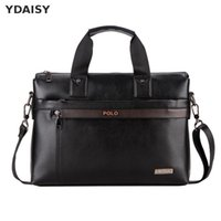 Wholesale Brand Briefcase Wholesale - Wholesale- Brand Office Men's Pu Leather Briefcase Fashion Handbags For Man Sacoche Homme Marque Male Bag For A4 Documents Black X15