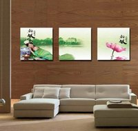 Modern Feng Shui Wall Art Giglio d'acqua Pittura Landscape Hd Stampa su tela di canapa Home Decor Set30266