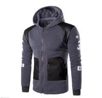 Wholesale Draped Hoodie - High Quality Hoodies Brand Sweatshirts Men Zipper Hoodies Men's Leather Stitching Hoodie Slim Men Sportswear Men M-XXXL W47