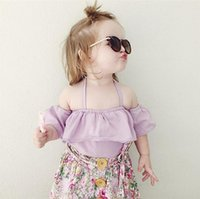 Wholesale Sexy Hot Shirt - 2016 Ins Hot baby girl infant toddler Summer tops shirt blouse Cute Lace lotus leaf collar Big collar Sexy Tutu tops Ruffles