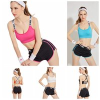 Wholesale Girls Underwear Fitness - PINK Tracksuit Women Pink Letter Yoga Suit Summer Sport Wear Fitness Bra Shorts Gym Top Vest Pants Running Underwear Set 5 Colors OOA2959