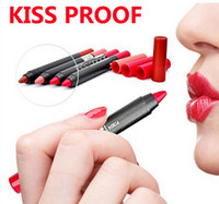 Wholesale lips kiss proof for sale - 2016 NEW Makeup M N nonstick cup not fade Crayon style lip pen kissproof batom soft lipstick Durable kiss proof waterproof