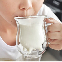 Wholesale Double Wall Glass Cup Milk - 250ml Heat-Resisting Dairy Cow Glass Tea Cup Handle Mugs Udder Style Creative Double Wall Glass Dairy Cow Milk Cup WA1355