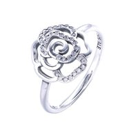 Wholesale 925 Silver Rose Flower Ring - New Style Rose Flower Ring with Clear CZ Original 100% 925 Sterling Silver Fine Jewelry For Women PY0036