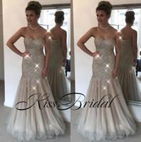 dos gris robes de soirée achat en gros de-Shinny Crystal Prom robes argent gris sirène formelle robes de soirée sans bretelles lacent la longueur de plancher arrière