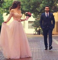 Wholesale Romantic Long Sleeves Wedding - 2017 Romantic Blush Pink Tulle A line Wedding Dresses Sexy Off Shoulder Long Sleeve Backless Wedding Gowns Simple Custom Made Bridal Dress