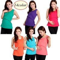 Wholesale Wholesale Breastfeeding Clothes - 14colors Modal Nursing Tank tops cheap breastfeeding vest clothes affordable maternity wear clothing for pregnant women pregnancy dresses