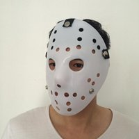 Wholesale White Horror Film Masks - New Jason Mask All White Cosplay Full Face Mask Halloween Party Scary Mask Jason vs Friday Horror Hockey Film Mask free shipping