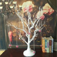 Wholesale Window Decorations Crystals - Upscale Crystal Bead String Hanging Wedding Decoration Tree Living Room and Window Display Ornament White Free Shipping
