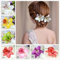 Wholesale Orchid Jewelry Wholesale - Colorful Bridal Wedding Orchid Flower Hair Clip Barrette Women Girls Accessories Hair Jewelry Bride Hairpins Side clips Beach Style Headwear