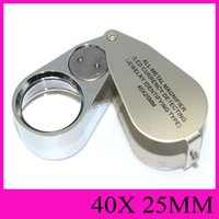 40X25MM All-Metal Magnifier LED Devise De Détection De Bijoux Identifiant Type Jewel Illuminating Loupes Magnifier Portable Rotatable handheld