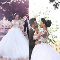 Wholesale Sweetheart Transparent Wedding Dress - Arabic Wedding Dresses 2016 Long Transparent Sleeve Lace Appliques Ball Gown Sheer Puffy Wedding Dresses Vestidos de Fiesta