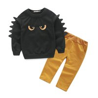 Wholesale Night Outfits - 2016 NEW Baby night fury cotton outfits Two-piece sets black long sleeves T-shirt yellow Pants Boys cartoon Outfits Set Casual Holloween