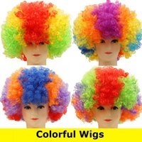 Wholesale Tires For Hair - New Masquerade props for Cosplay Wigs Party Wigs tire fans clown wig explosion hair color colorful hair Wigs 3023