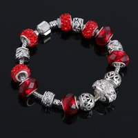 Creative Charms Crystal Silver Beads Bracelets 2016 New Hot Girls Women DIY Jóias Chinese Wedding Jewelry 7 cores
