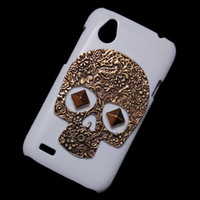 Wholesale Desire V Case - Fashion Hard Back Case Cover for HTC Desire V T328W, Retro Vintage Bronze Metallic Skeleton Skull Punk Stud Rivet Protective Skin Shell