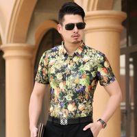 Wholesale Sleeve Shirts Men Orange - Wholesale-Plus size 7XL 6XL Floral Men Shirts Cheap Short Sleeve Casual Shirts 5XL Big Size Luxury Top Quality China Imported Men Clothing