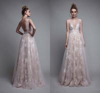 berta gece elbiseleri toptan satış-Berta 2019 Seksi sparkly Gelinlik Modelleri Derin V Boyun Backless Dantel Aplike Elbise Akşam Kolsuz Tül Uzun Pageant Abiye Giymek