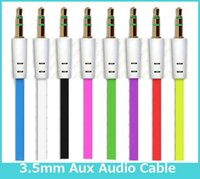 Wholesale Flat Noodle Aux Cable mm Audio Auxiliary Cables Jack Male to Male Car audio Stereo Cord Wire for Phone Iphone Ipod Ipad