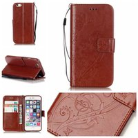 Wholesale Soft Leather 4s Card - For iphone 7 6 6s plus Embossed Wallet Leather Case Flip Soft Gel Cover Flower Butterfly for iphone 5 5s 5c 4s SCA200