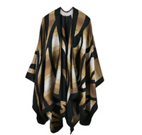 Wholesale Camouflage Blanket - 2016 New Brand Women's Winter Poncho Vintage Blanket Women's Lady camouflage gradient Knit Shawl Cape Cashmere Scarf Poncho cc757