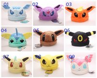 Wholesale Pokemon Umbreon Vaporeon - 50pcs Poke Sylveon Umbreon Eevee Espeon Jolteon Vaporeon Flareon Glaceon Leafeon Hat Plush Adult Cap Free Shipping