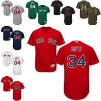 Wholesale Majestic - Cheap White Gray David Ortiz Authentic Jersey , Men's #34 Majestic MLB Boston Red Sox Flexbase Collection stitched s-4xl