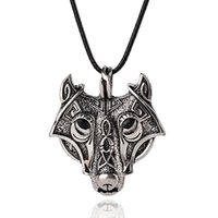 Wholesale Wholesale Wolf Head Pendant Necklace - New Norse Vikings Pendant Necklaces Vintage Silver Wolf Head Men Necklaces Original Animal Jewelry free shipping