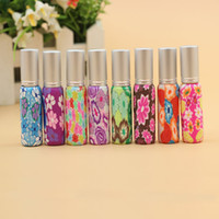 Wholesale Clay Perfume Bottles - Hot Sales pump 10ml Clay Glass Perfume Bottle Travel Polymer Clay Fimo Empty Spray Scent Bottle Pump Case Random Color