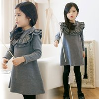Wholesale Korean Warm Clothing - Girl's Dresses Baby Kids Winter New Clothes Warm Thicken One-piece Big Girl Korean Style Falbala Solid Color Dress Top Grade Kids Tops 9529