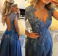 Wholesale embroidery dress lace evening gowns for sale - Group buy Dark Navy Lace Appliques Beaded Prom Dress Backless Bow A Line Pearls Floor Length Elegant Sexy Evening Gowns Custom Made