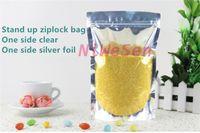 Wholesale Plastic Bag Reclosable - 9x14cm - 18x26cm,200 x Reclosable Stand up translucent aluminium zipLock bags,Front clear Silvery plated foil plastic pouch zipper clip seal