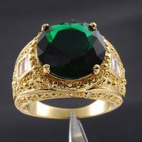 изумрудные кольца размер 11 оптовых-Размер 9/10/11/12/13 ювелирные изделия Делюкс мужские Изумруд 18K желтое золото заполнены огромный драгоценный камень кольцо