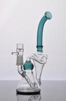 equipamentos duplos venda por atacado-Mais novo Dual Bong Vidro Bongo 2 Função Dab Rigs Tubos De Água De Vidro Tubulação De Fumo De água de vidro Bong Hookahs com 14mm macho conjunta