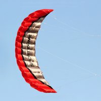 Wholesale Nylon Kites Wholesale - Wholesale- Free Shipping High Quality 2.5m Red Dual Line Parafoil Kite WithFlying Tools Power Braid Sailing Kitesurf Rainbow Sports Beach