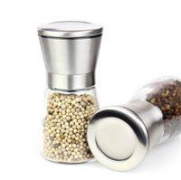 Wholesale premium glass bottles - Manual Salt Pepper Mill Grinder Seasoning Bottle Grinder Glass Kitchen Accessaries Tool Premium Salt Grinder Stainless Steel 50Pcs