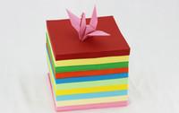 papel origami envio grátis venda por atacado-Venda quente 100 pçs / lote Barato Colorido Diy Crianças Origami Papel Scrapbooking Decoração Fundo 15x15 cm Frete Grátis