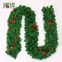 Wholesale Merry Christmas Wreath - Christmas Decorative Hanging Wall Door Mounted Christmas Garland pine garland merry tree decoration strip decoration garland free shipping
