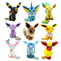 Wholesale Pokemon Umbreon Vaporeon - Poke plush 9 Styles 15-20cm plush toy Glaceon Leafeon Eevee Vaporeon Flareon Espeon Jolteon Umbreon stuffed doll Best gift