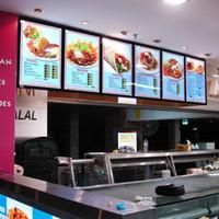 Wholesale restaurant menu boards - Black Colour Aluminum Frame LED Backlit Cafe Shop Restaurant Ultra Slim Menu Board LightBoxes