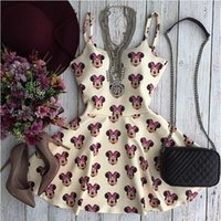 Wholesale Girl S Dress Bear - Wholesale-2016 new summer women ladies 'minnie mouse bear straps sleeveless print dresses girls' casual elegant club party vestidos dress