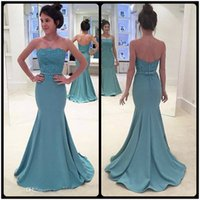 Wholesale Strapless Pleated Lace Top - 2018 Fashion Evening Dresses Sexy Strapless Appliqued Lace Top Sleeveless Sweep Train Mermaid Prom Dresses For Women Party Gowns