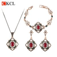 Wholesale Carved Jade Accessories - Earrings Bracelets And Necklaces 3 Pcs Jewelry Sets For Women Flower Hollow Carved Antique Gold color Ethnic Accessories